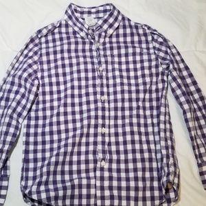 CrewCuts Boys gingham Purple & White Oxford sz 8